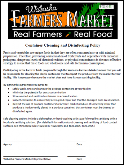 clean produce containers policy