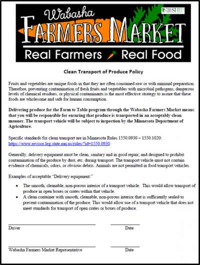 clean transport of produce policy